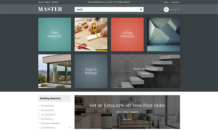 Building Materials Responsive OpenCart Template