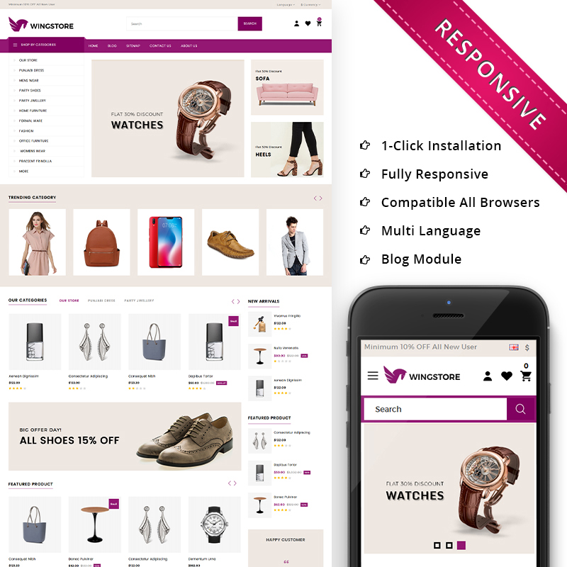 Wingstore - Mega Shop Responsive OpenCart Template