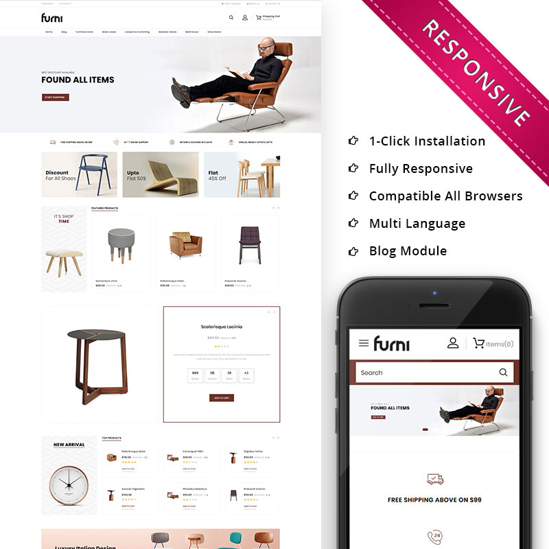 Furni - The Furniture Store Responsive OpenCart Template