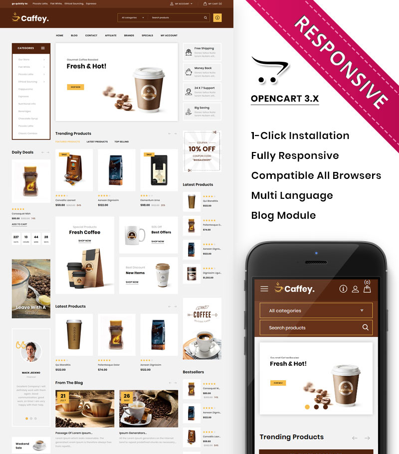 Caffey - The Mega Coffee Shop OpenCart Template